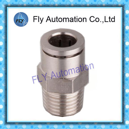 Pneumatic Tube Fittings Straight male thread full copper nickel push pneumatic fittings PC series
